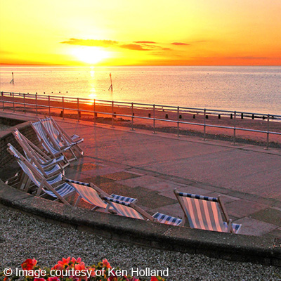 Sunset with deck chairs